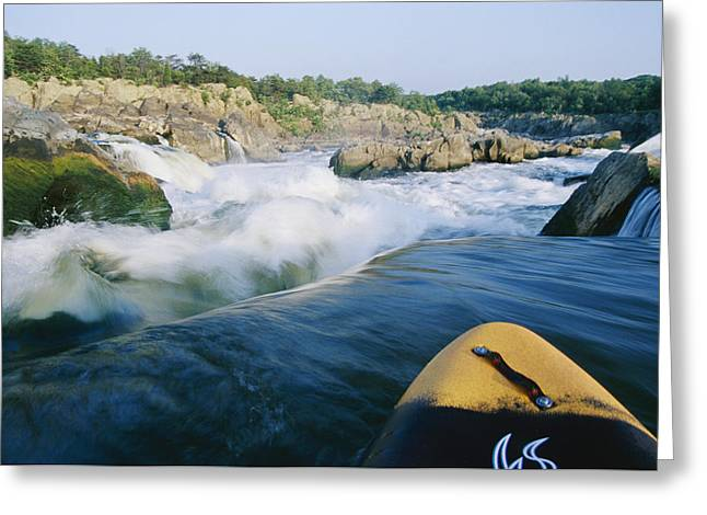Plunge Greeting Cards - View From Whitewater Kayak At The Top Greeting Card by Skip Brown