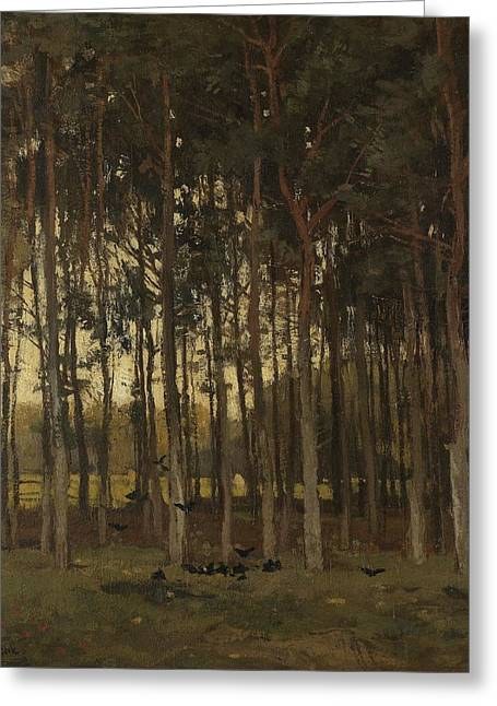 View In The Woods, Theophile De Bock, C. 1870 - C. 1904 Greeting Card by Celestial Images