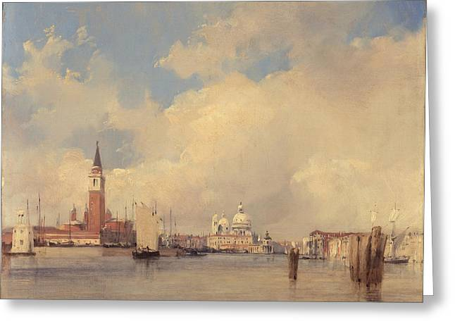 Campanile Greeting Cards - View in Venice with San Giorgio Maggiore Greeting Card by Richard Parkes Bonington