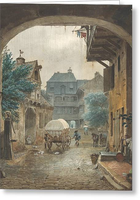 View Into The Courtyard Of An Inn At Colmar Greeting Card