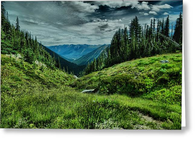 View Into The Valley Greeting Card by Jeff Swan