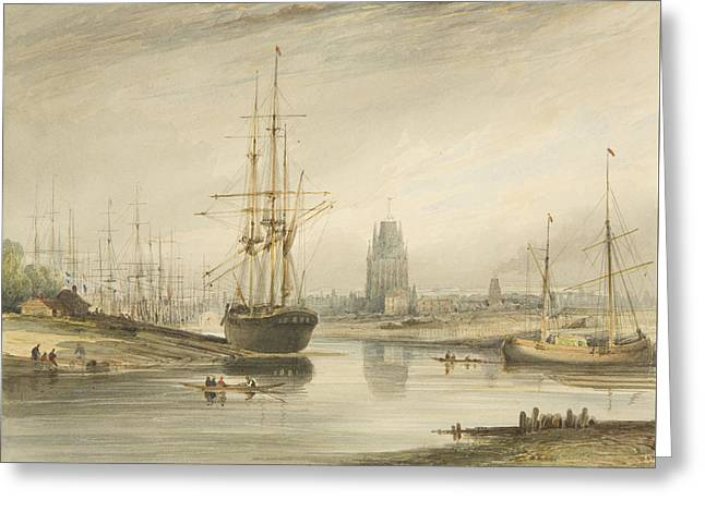 View Looking Up The River, Taken From Below The Rope Walk And Wapping Greeting Card by Thomas Leeson the Elder Rowbotham