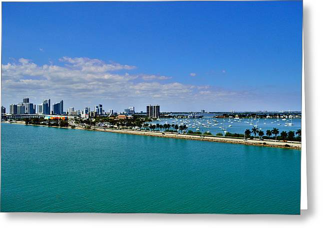 Miami View From Carnival Glory Greeting Card
