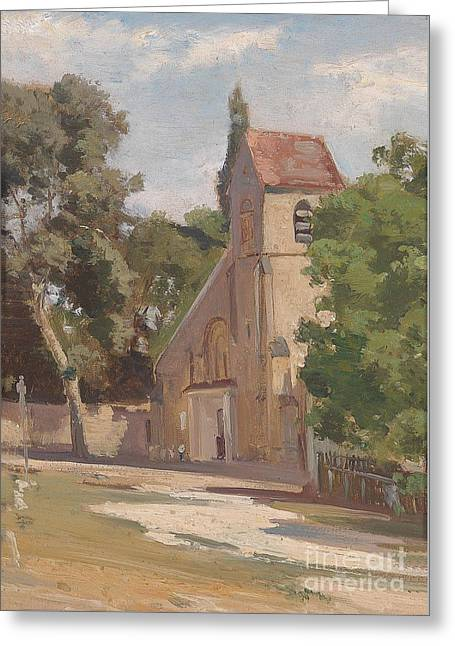 View Of A Church Portal Greeting Card by MotionAge Designs