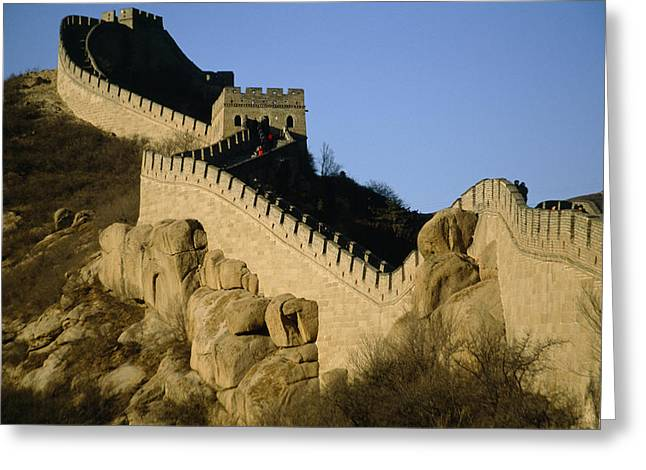 Chinese Architecture And Art Greeting Cards - View Of A Section Of The Great Wall Greeting Card by Michael S. Yamashita