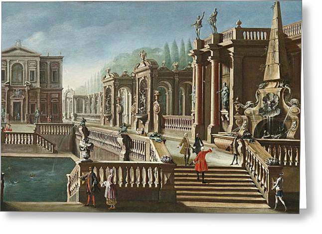 View Of A Villa With Fountains Greeting Card by Celestial Images