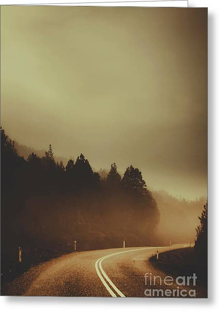 View Of Abandoned Country Road In Foggy Forest Greeting Card