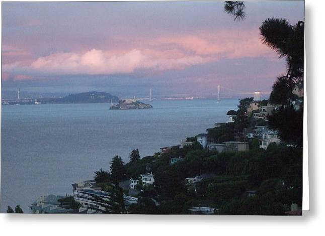 View Of Alcatraz From Our Sausalito Home Greeting Card