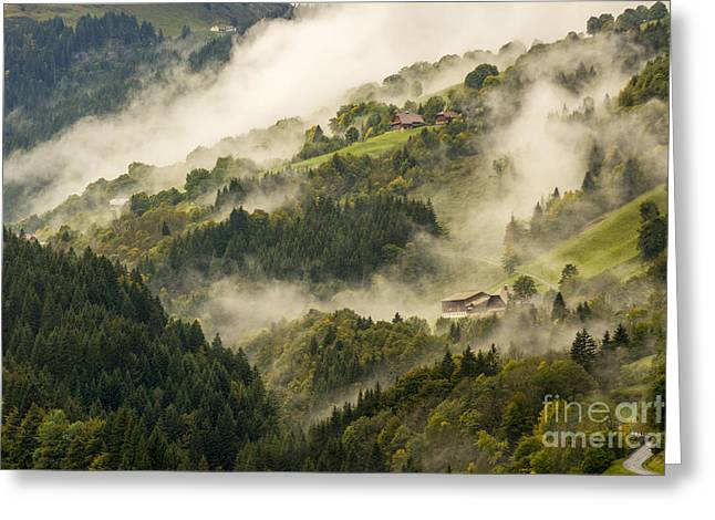 View Of Alpine Landscape. France. Greeting Card