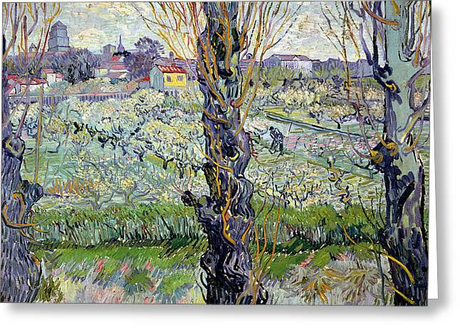 Vangogh Paintings Greeting Cards - View of Arles Greeting Card by Vincent Van Gogh