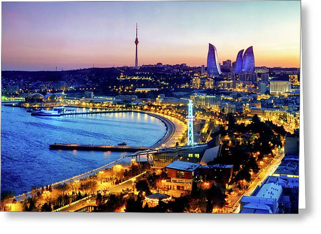 Greeting Card featuring the photograph View Of Baku by Fabrizio Troiani
