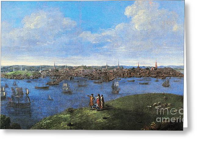 Charles River Greeting Cards - View Of Boston, 1738 Greeting Card by Granger
