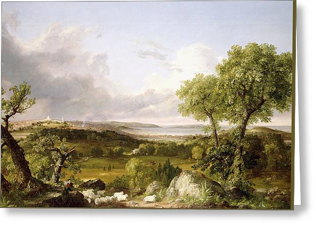 View Of Boston Greeting Card by Thomas Cole