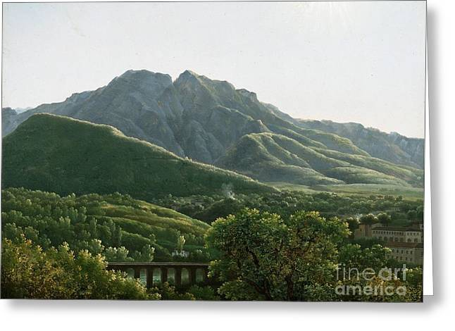 View Of Bridge And The Town Of Cava Greeting Card by MotionAge Designs