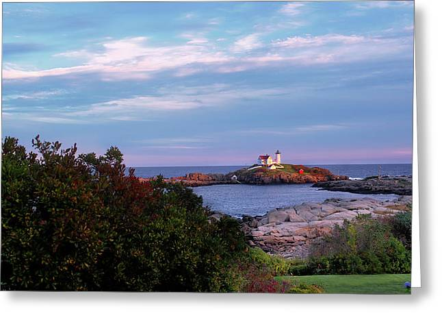View Of Cape Neddick Light At Sunset - Maine Greeting Card