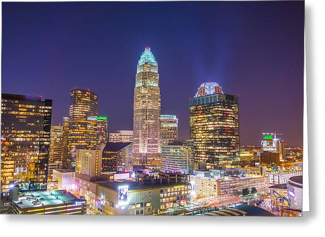 View Of Charlotte Skyline Aerial At Sunset Greeting Card