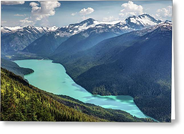 Greeting Card featuring the photograph View Of Cheakamus Lake From The High Note Trail by Pierre Leclerc Photography