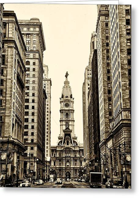 Broad Street Digital Art Greeting Cards - View of Cityhall from Broad Street in Philadelphia Greeting Card by Bill Cannon