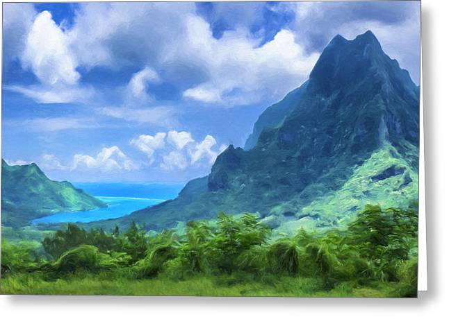 View Of Cook's Bay Mo'orea Greeting Card