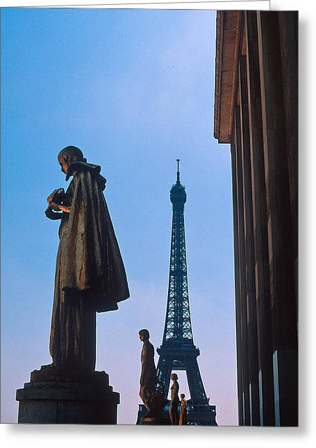 Trocadero Greeting Cards - View of Eiffel from Trocadero Greeting Card by Kathy Yates