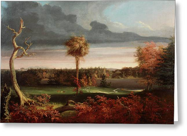 View Of Featherstonhaugh Estate Near Duanesburg Greeting Card by Thomas Cole