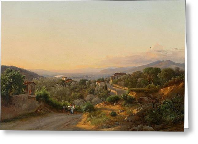View Of Florence And The Hills To The West Of San Greeting Card by MotionAge Designs
