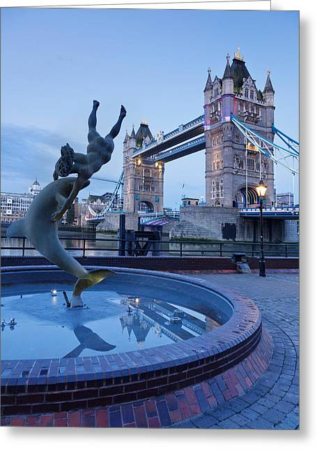 View Of Fountain With Tower Bridge Greeting Card