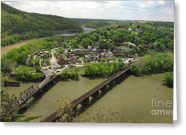 View Of Harpers Ferry From Maryland Heights Overlook Greeting Card by Ben Schumin