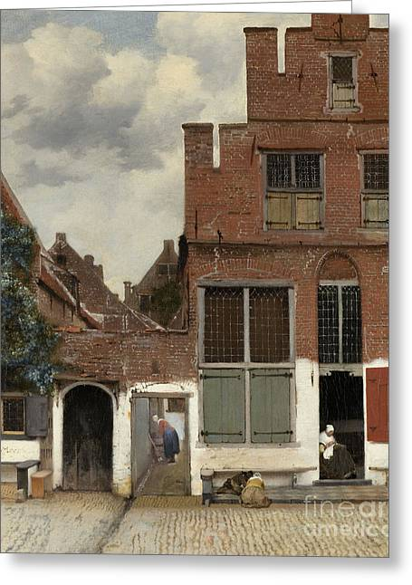 View Of Houses In Delft, Known As The Little Street Greeting Card by Jan Vermeer