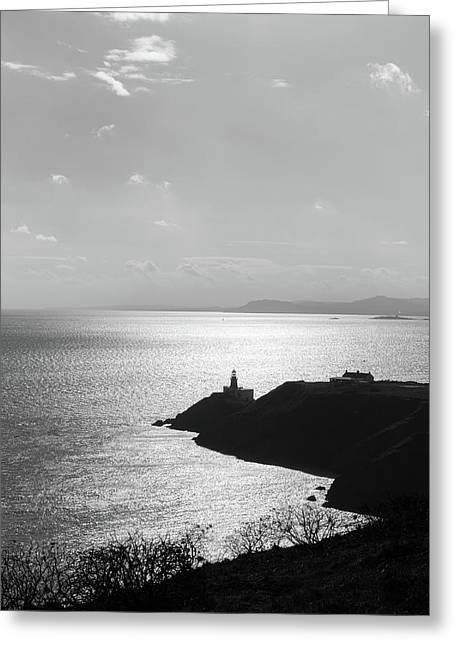View Of Howth Head With The Baily Lighthouse In Black And White Greeting Card by Semmick Photo