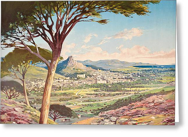 View Of Hyeres, France, 1900 Greeting Card by Hugo dAlesi