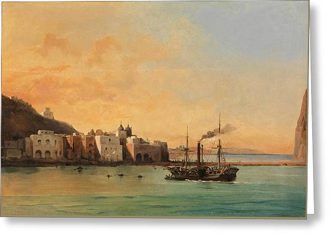 View Of Ischia From The Sea Greeting Card by Charles Remond
