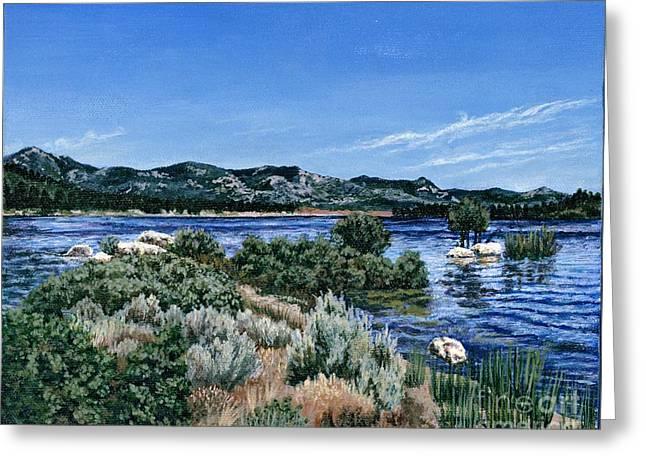 View Of Lake Hemet Greeting Card