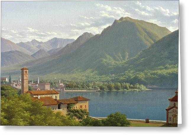View Of Lake Lugano Greeting Card by Lancelot-Theodore Turpin de Crisse