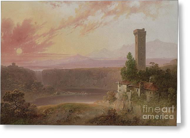 View Of Lake Nemi At Sunset Greeting Card by Joshua Shaw