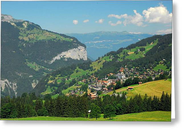 View Of Lauterbrunnen Valley Greeting Card by Anne Keiser