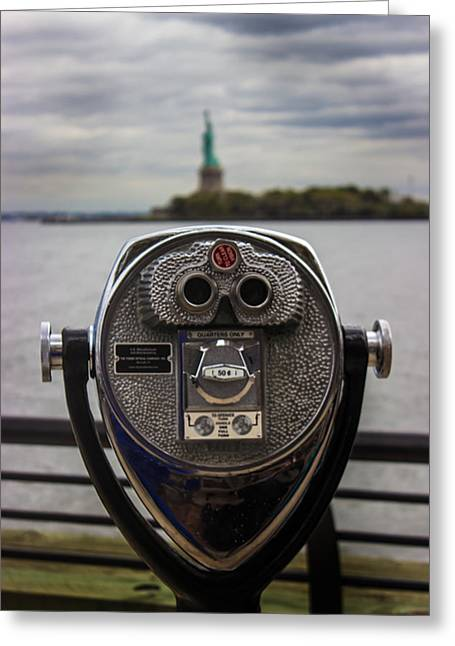 View Of Liberty Island Greeting Card by Martin Newman