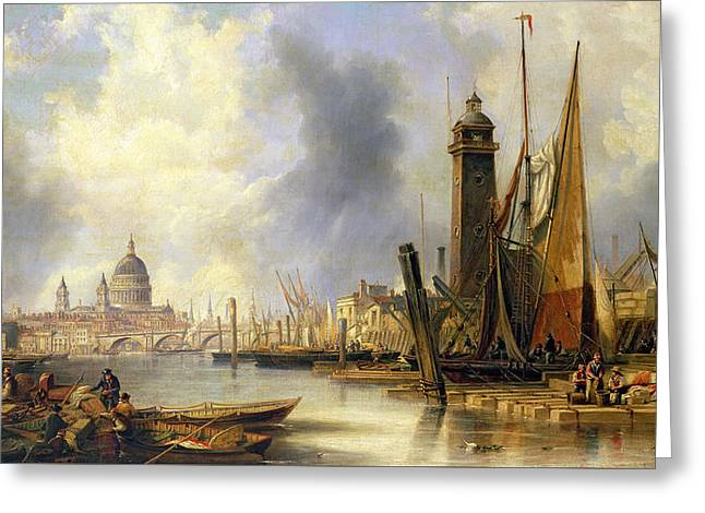 View Of London With St Paul's Greeting Card by John Wilson Carmichael