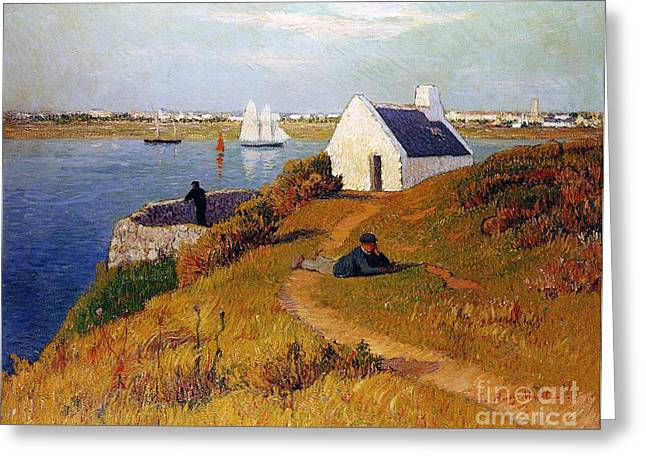 Boats On Water Greeting Cards - View of Lorient in Brittany Greeting Card by Henry Moret