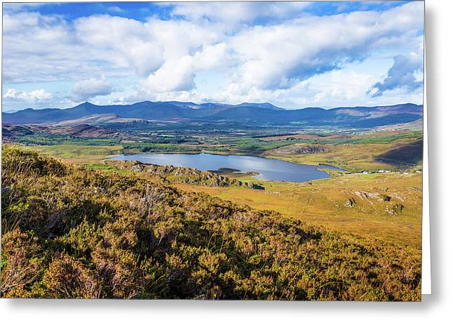 Greeting Card featuring the photograph View Of Lough Acoose In Ballycullane From The Foothill Of Macgil by Semmick Photo