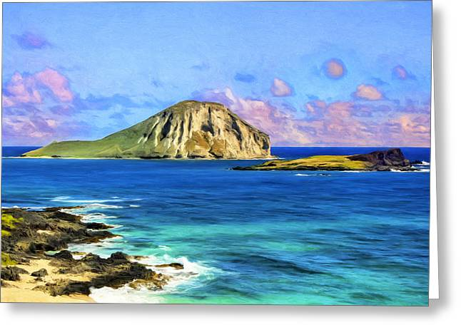 View Of Makapuu And Rabbit Island Greeting Card by Dominic Piperata