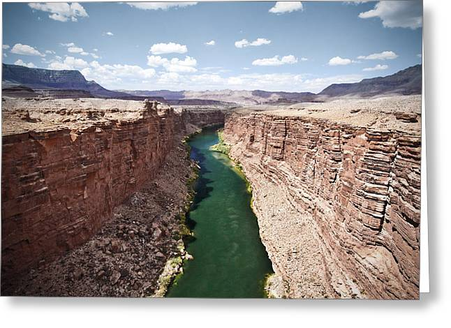 View Of Marble Canyon From The Navajo Bridge Greeting Card by Ryan Kelly