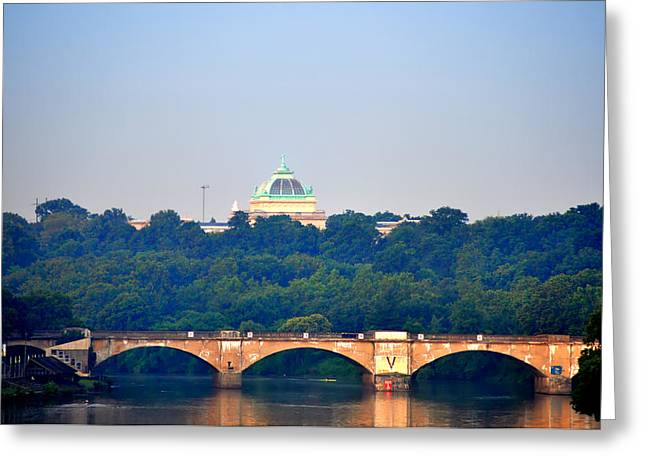 View Of Memorial Hall From The Schuylkill River Greeting Card by Bill Cannon