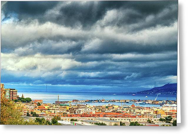 Greeting Card featuring the photograph View Of Messina Strait Sicily With Dramatic Sky by Silvia Ganora