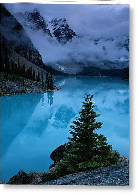Moraine Greeting Cards - View Of Moraine Lake With Low-lying Greeting Card by Raymond Gehman