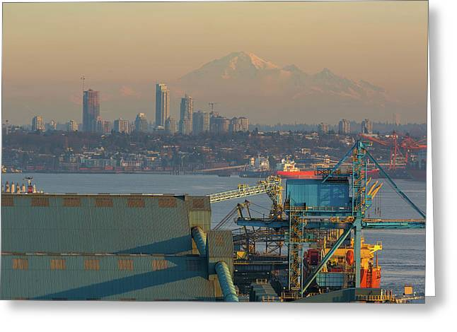 View Of Mount Baker And Vancouver Bc At Sunset Greeting Card