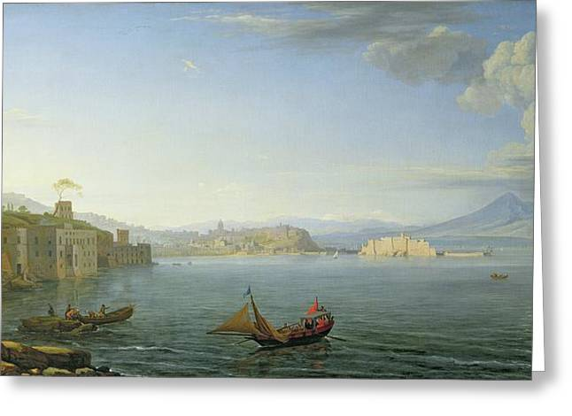 View Of Naples Greeting Card by Adrien Manglard