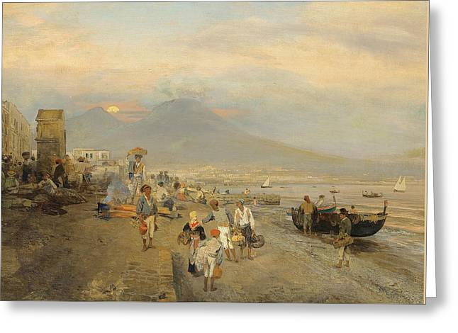View Of Naples At Sunset Greeting Card