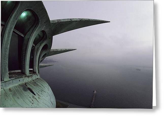 Statue Greeting Cards - View Of New York Harbor From The Top Greeting Card by Paul Chesley