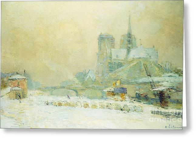 View Of Notre Dame, Paris, From The Quai De La Tournelle Snow Effect Greeting Card